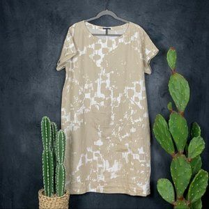 Oska Linen Lagenlook Printed Shift Dress XL Tan